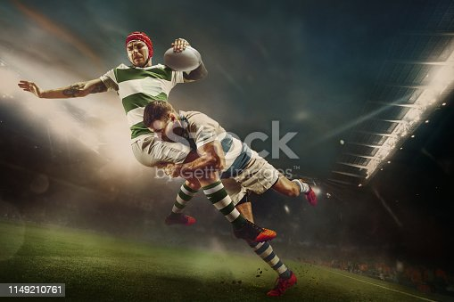 istock One caucasian rugby male player in action 1149210761