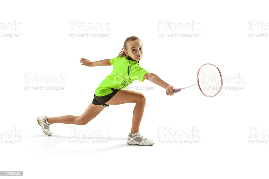 mujer de muchacha adolescente joven caucásico uno jugando jugador de bádminton aislado sobre fondo blanco - foto de stock