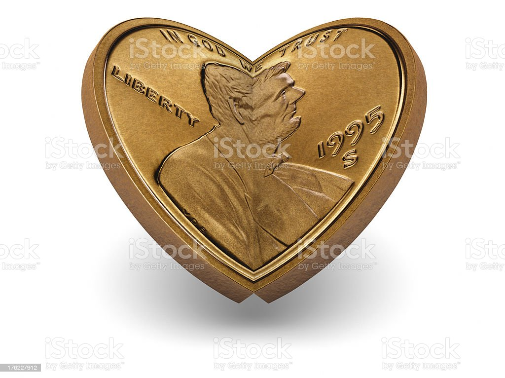One cent coin making a heart royalty-free stock photo