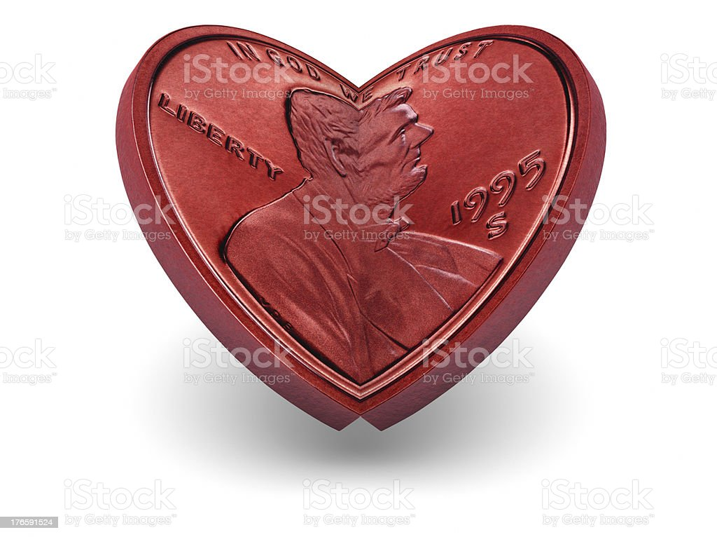 One cent coin making a red heart royalty-free stock photo