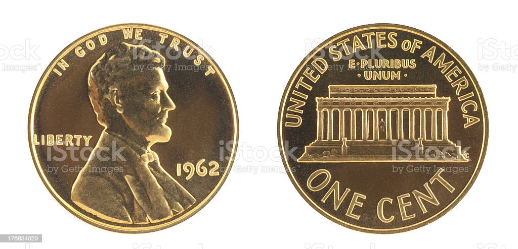 USA one cent in proof grade stock photo
