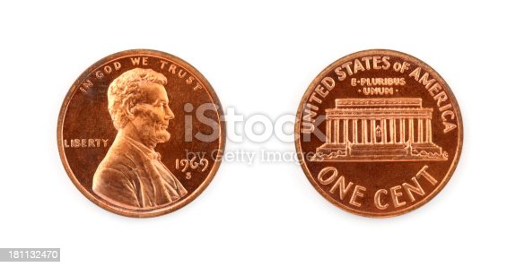 One US penny showing front and back isolated on white.