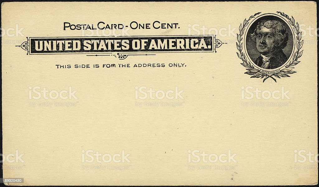 one cent postcard stock photo