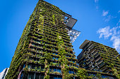 'One Central Park' building, an apartment complex with a shopping centre called 'Central' located on the lower levels. The building is situated  on Broadway in Chippendale district, it's characterised by its vertical gardens  and was designed by Jean Nouvel, Sydney, NSW, Australia