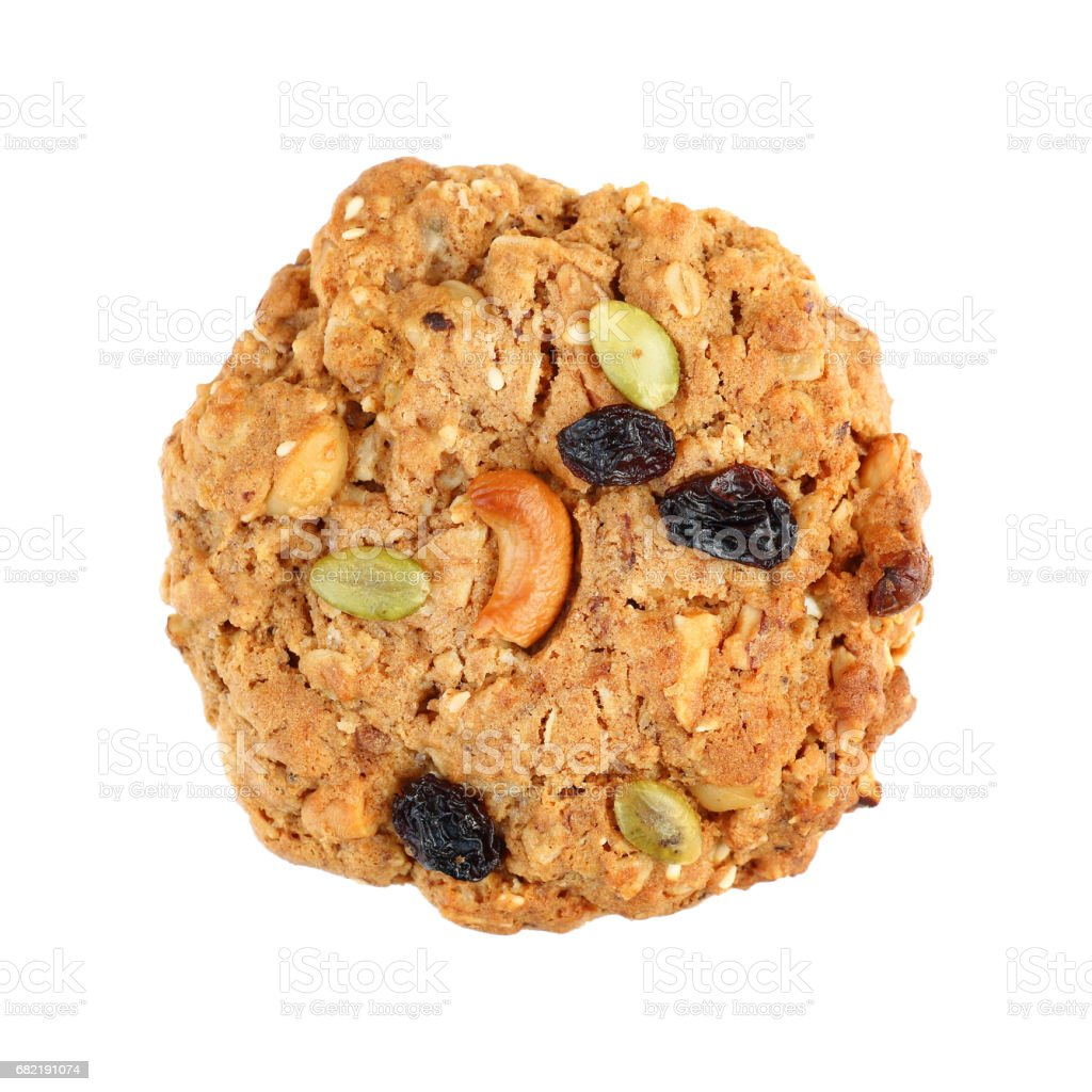 one cereal cookie isolated on white stock photo