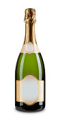 A bottle of champagne isolated on white  - with clipping path.