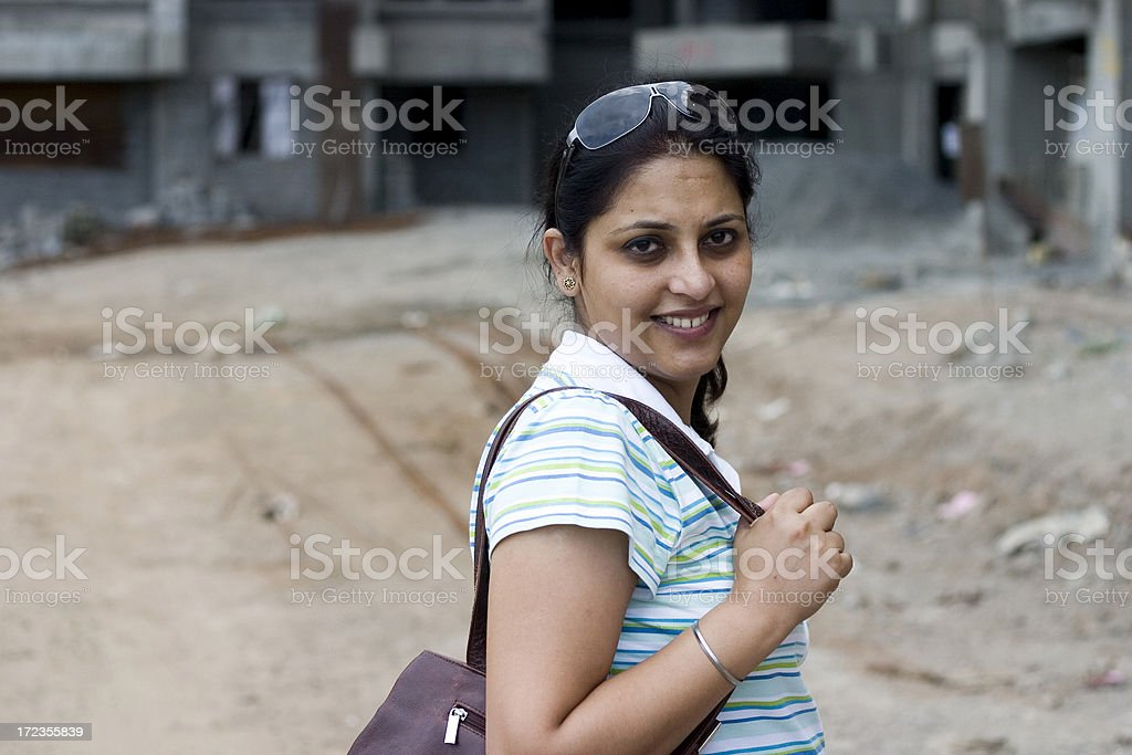 One Cheerful Indian Asian Adult Female Woman People Horizontal Outdoor royalty-free stock photo