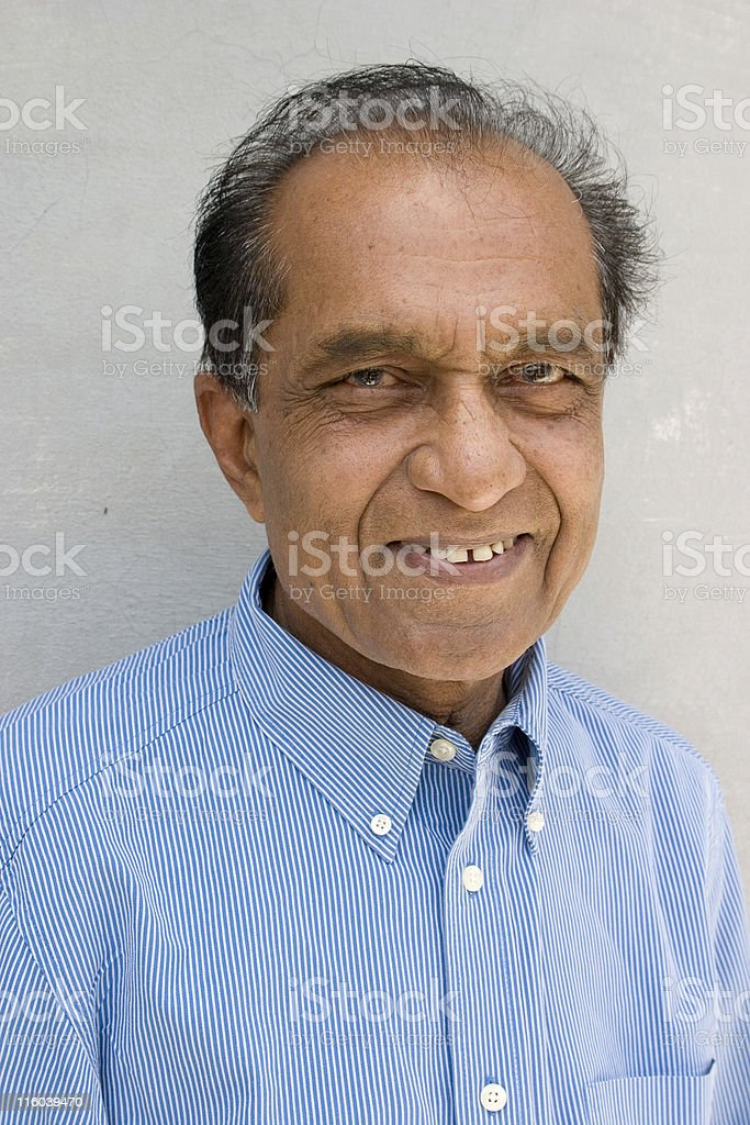 One Cheerful Indian Senior Citizen Male Man Vertical royalty-free stock photo