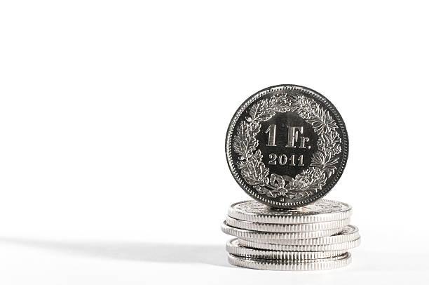 one chf swiss currency coin with year 2011 - franken stockfoto's en -beelden