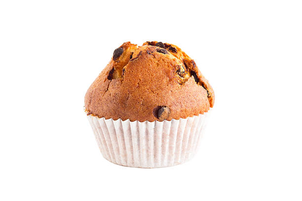 One chocolate chip muffin isolated on white stock photo