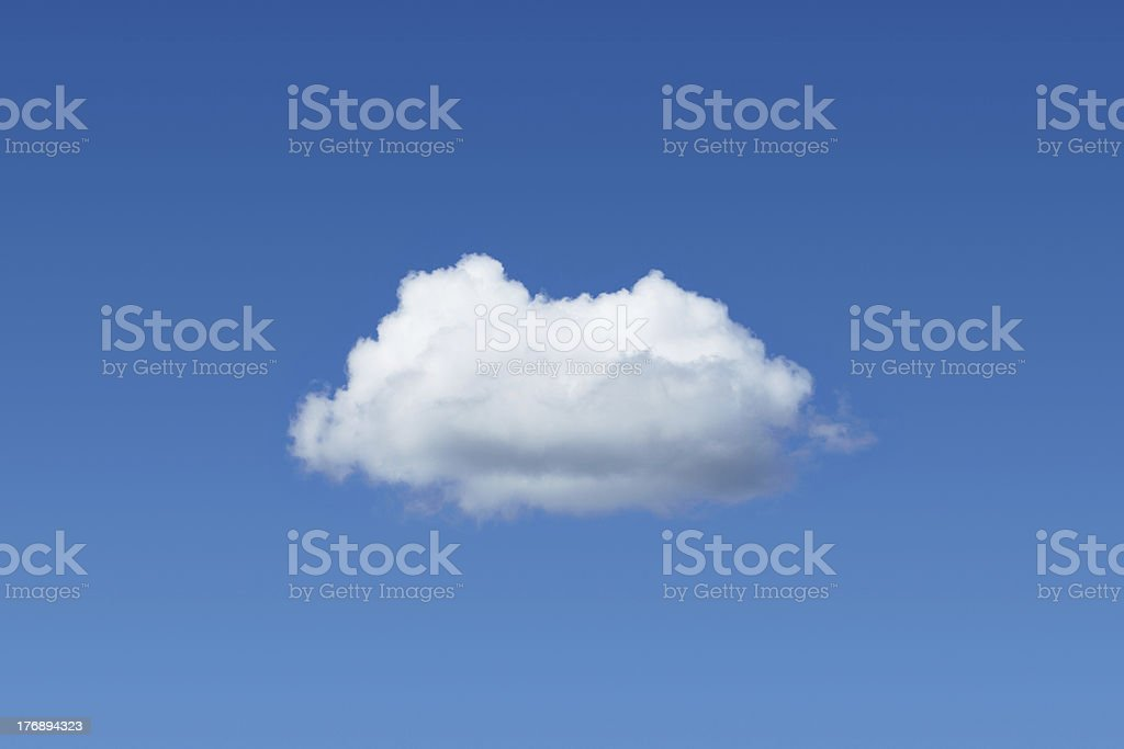 One cloud among blue sky stock photo