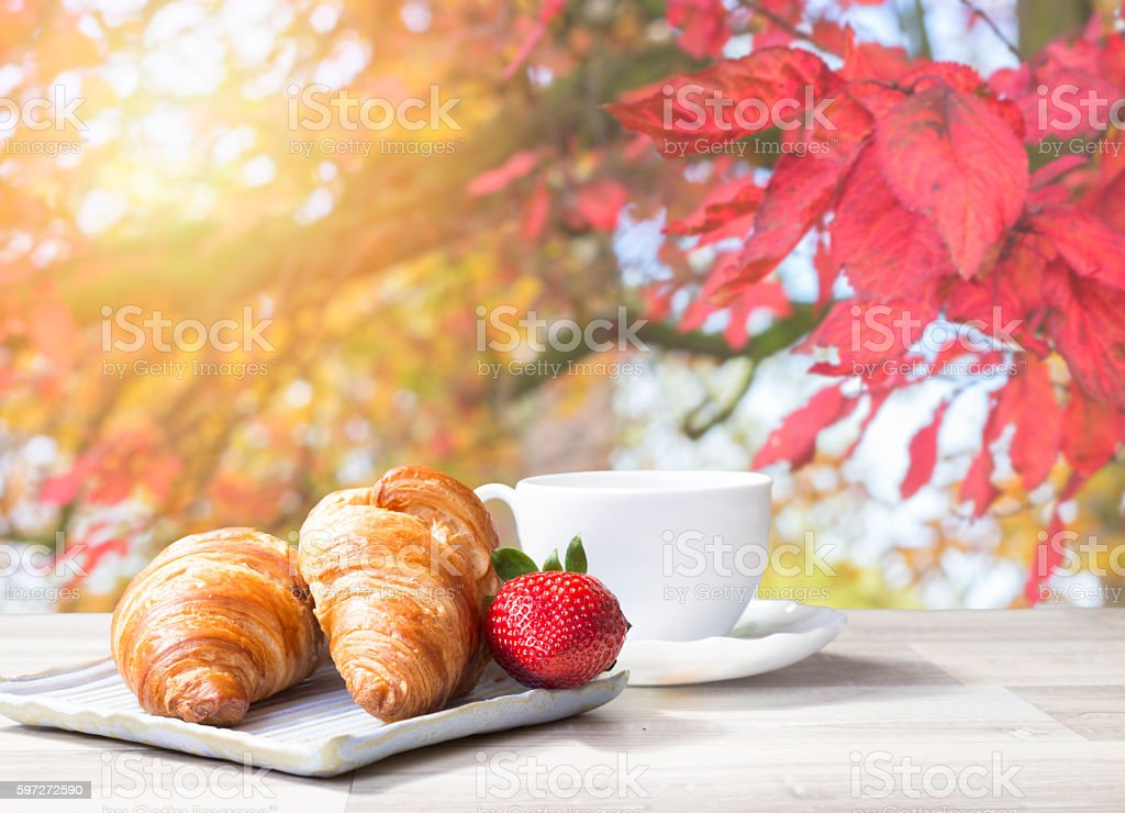one coffee cup with croissant in garden on wooden table Lizenzfreies stock-foto