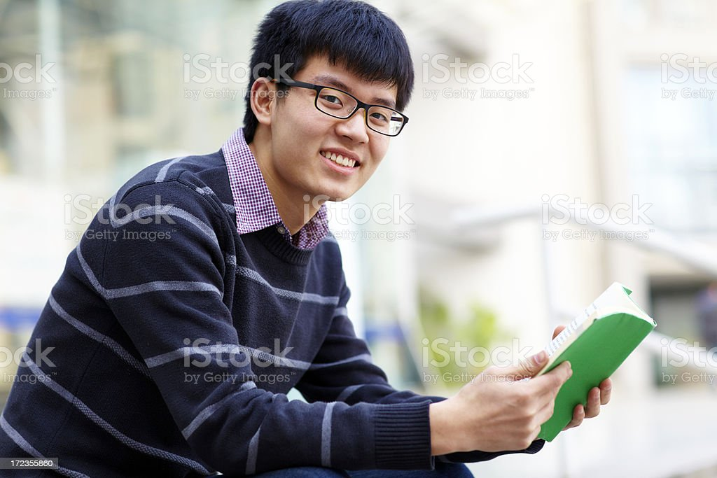 one college student in campus royalty-free stock photo