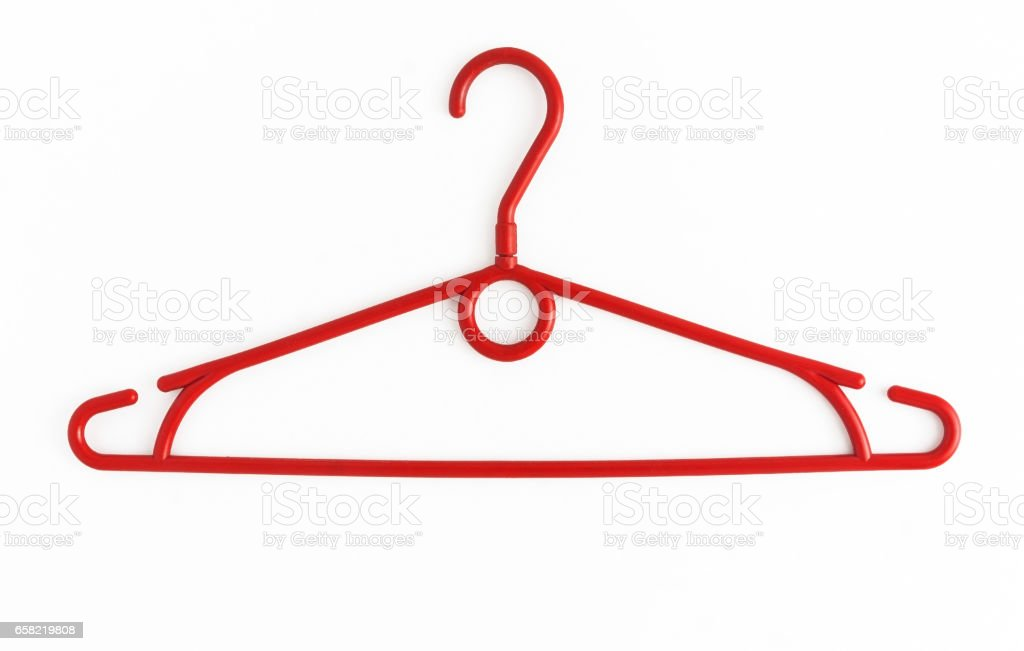 One colored plastic hanger, isolated on white background, close-up stock photo