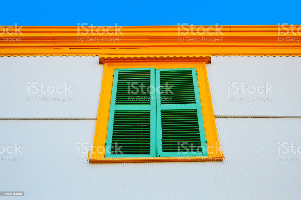 One colorful window in valparaiso stock photo