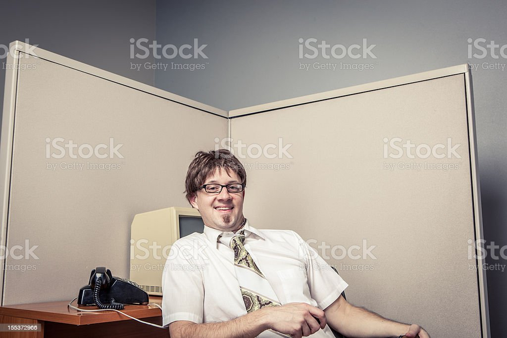 One Comical Nerdy Office Worker, Pleased with Himself stock photo