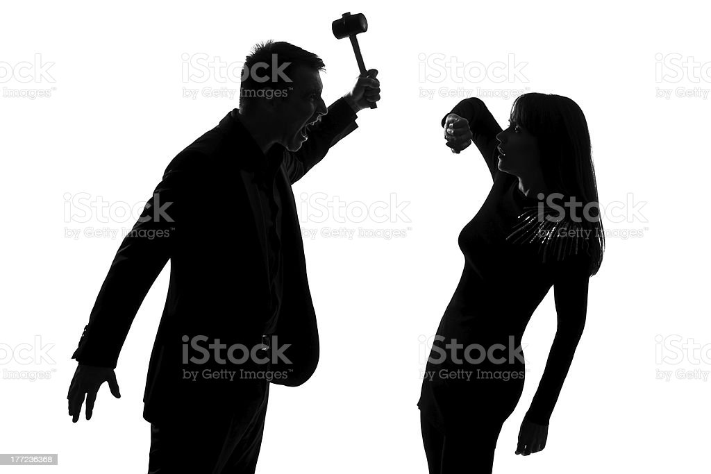 one couple man holding hammer and woman domestic violence royalty-free stock photo