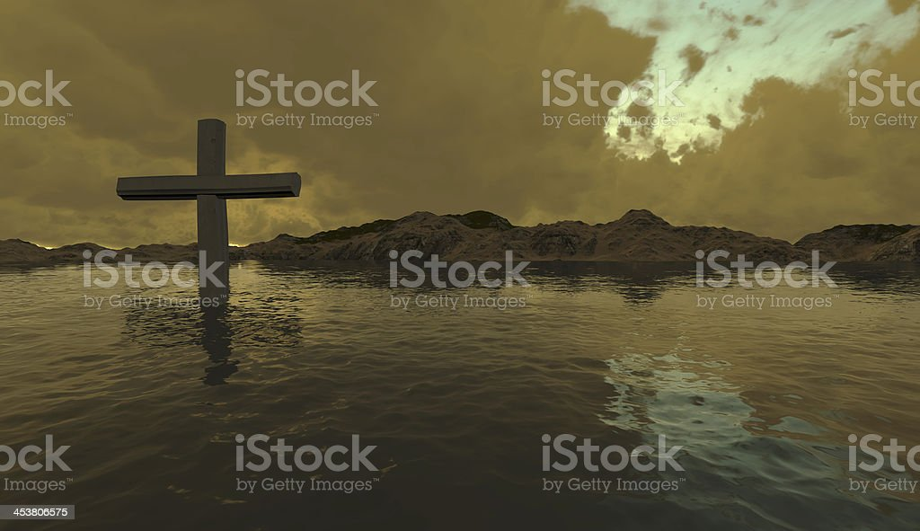 one  cross in water royalty-free stock photo