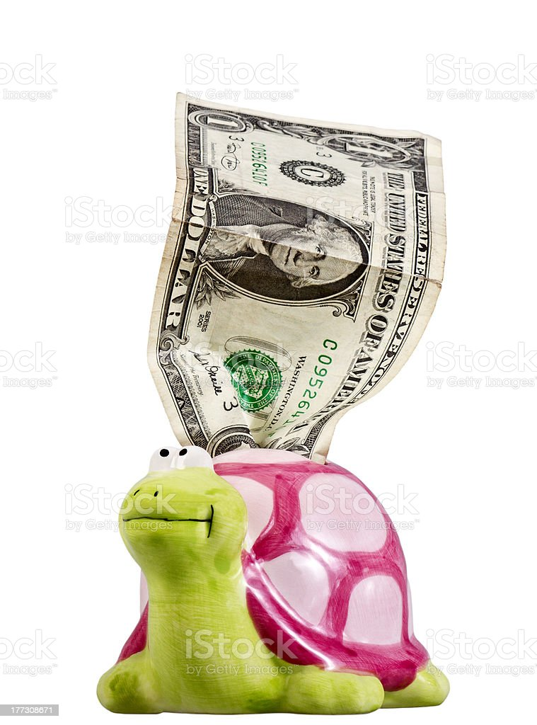 One crumpled dollar & piggy bank royalty-free stock photo