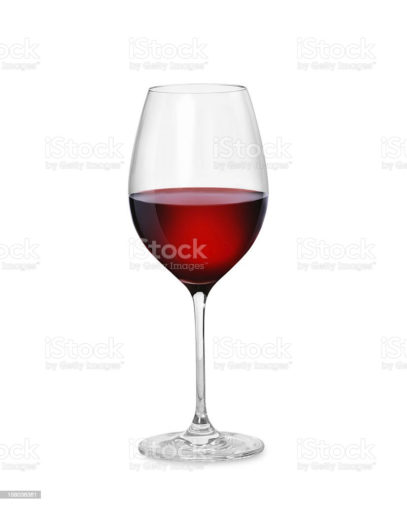 One crystal goblet filled halfway with red wine stock photo