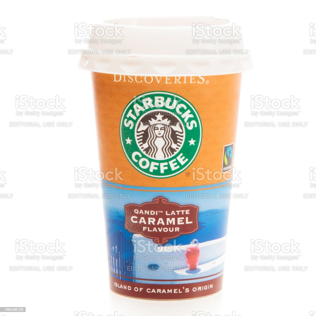 one cup of starbucks' qandi latte caramel flavour coffee drink royalty-free stock photo