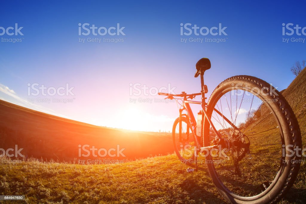 One cycle on a bright day with beautiful landscape background Lizenzfreies stock-foto