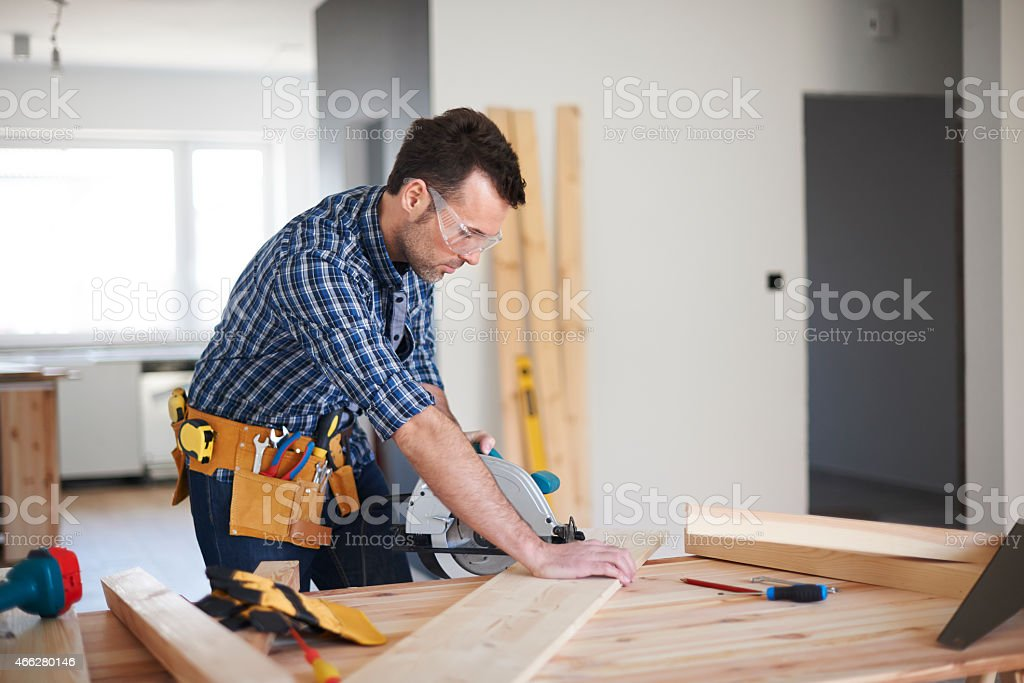 One day from work of carpenter stock photo