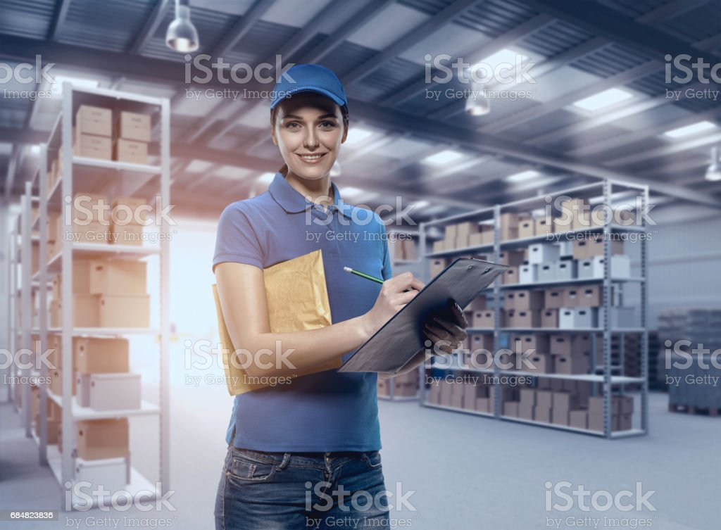 One day in the delivery service warehouse. stock photo