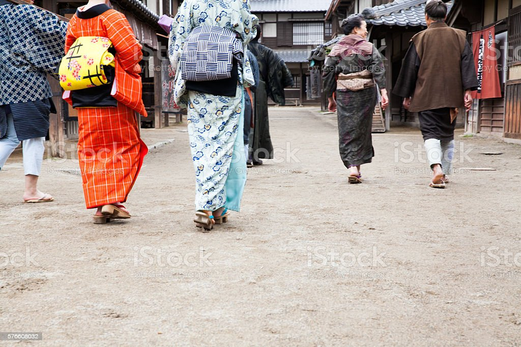one day of edo perioud japan. stock photo