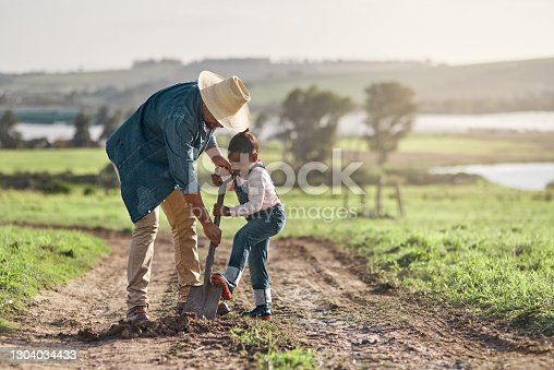 Shot of a mature man working his adorable daughter on a farm