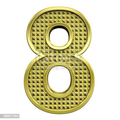 istock One digit from knurled gold alphabet set 186921554
