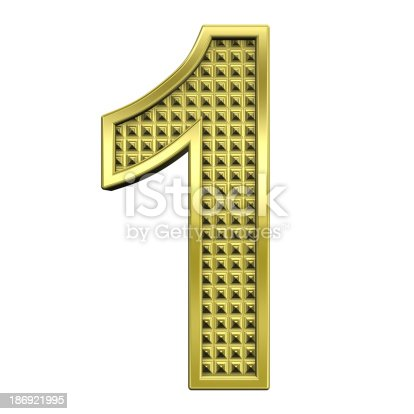 673234458istockphoto One digit from knurled gold alphabet set 186921995