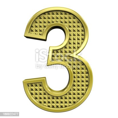 673234458istockphoto One digit from knurled gold alphabet set 186922477