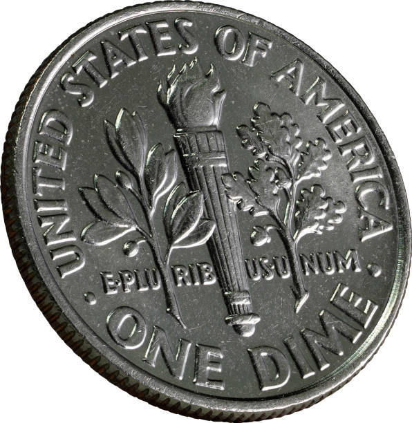 US one dime coin (ten cents), American Dime stock photo