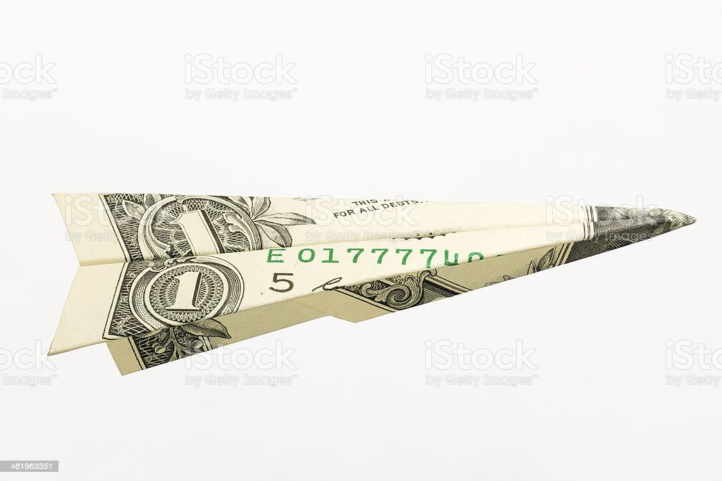 One Dollar Airplane stock photo