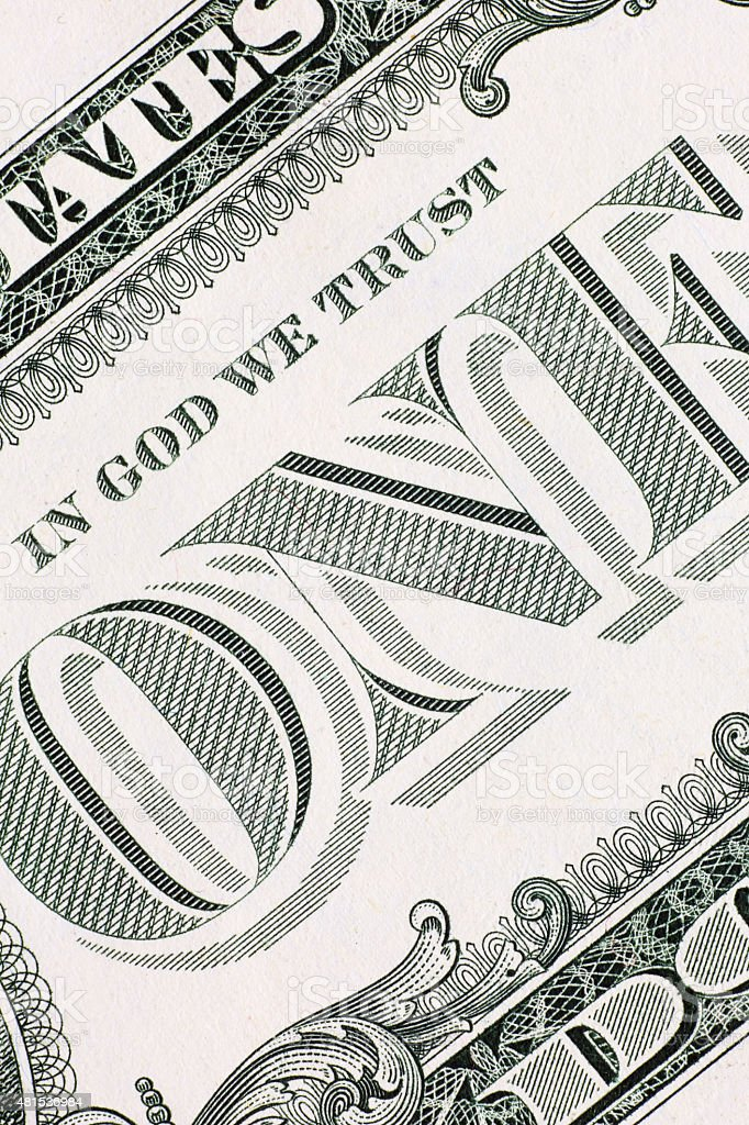 One dollar banknote detail, vertical stock photo