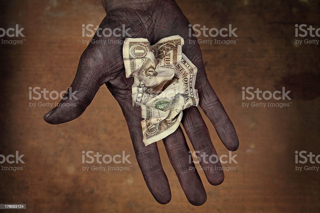 One Dollar Banknote in Hand royalty-free stock photo