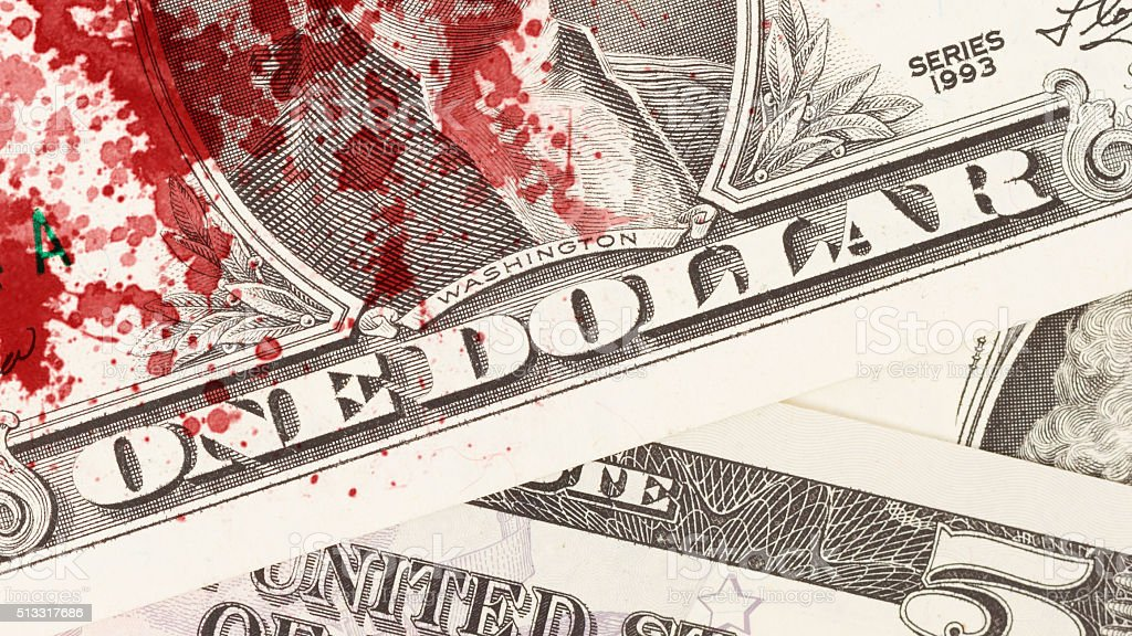 US one Dollar bill, close up, blood stock photo