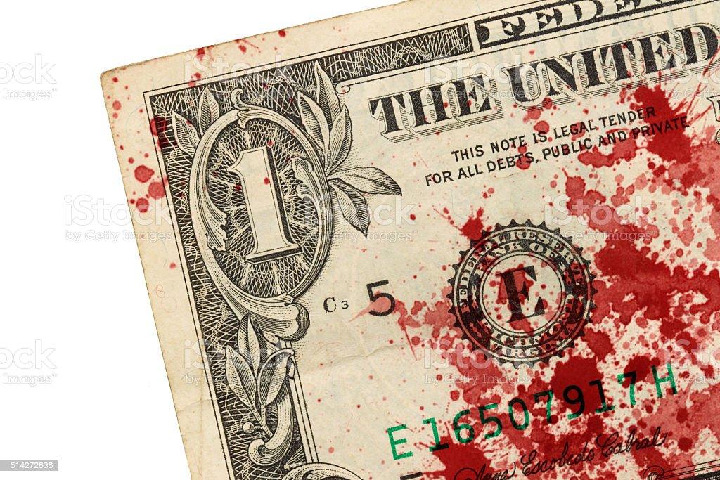 US one Dollar bill, close up, blood stock photo
