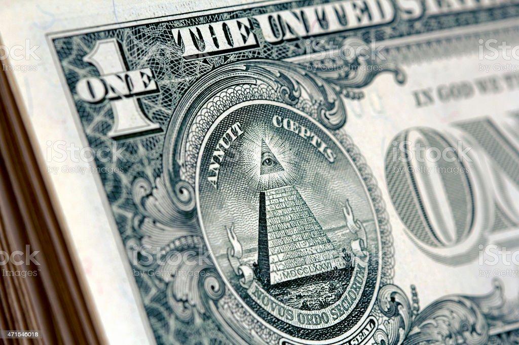 One Dollar bill detail six stock photo