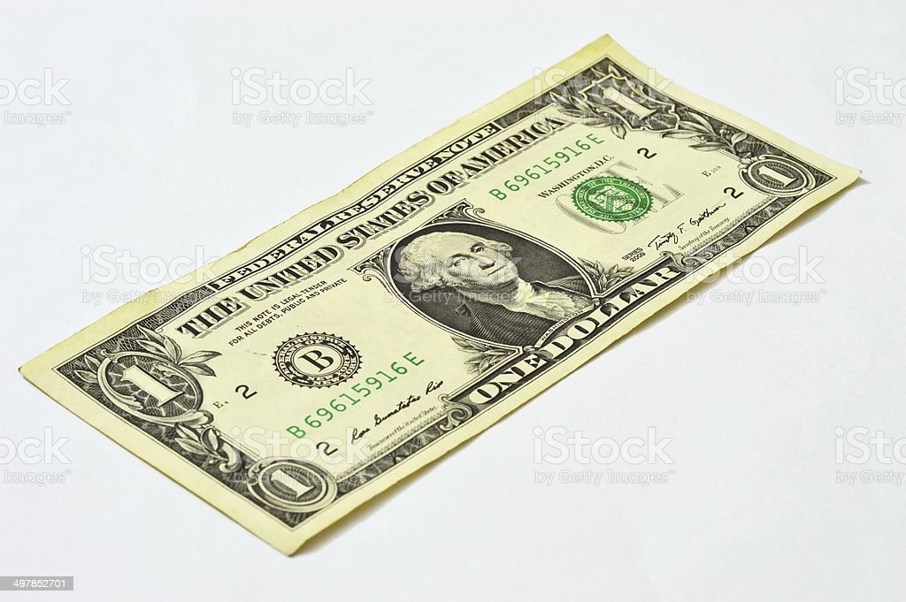 One dollar bill isolated on white background stock photo