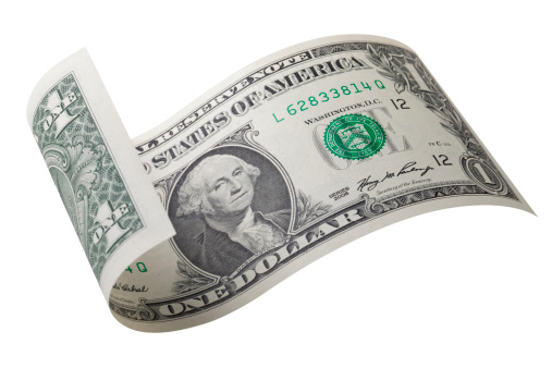 One dollar bill. Photo with clipping path.Similar photographs from my portfolio: