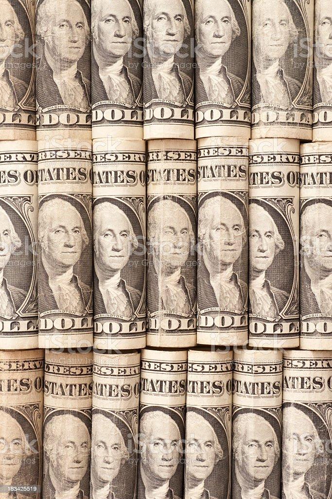 One dollar bill rolls stock photo