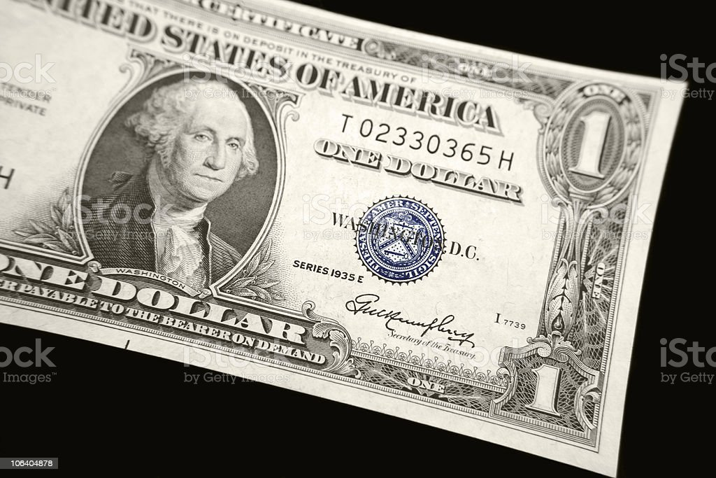One Dollar Bill Silver Certificate Detail On Black Background Stock