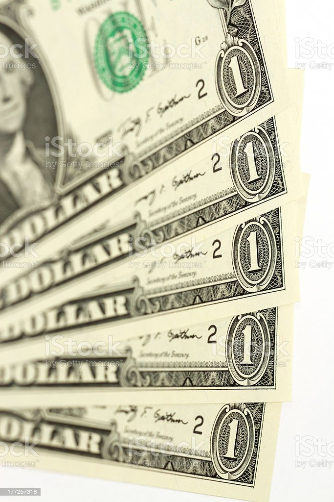 US One Dollar Bills stock photo