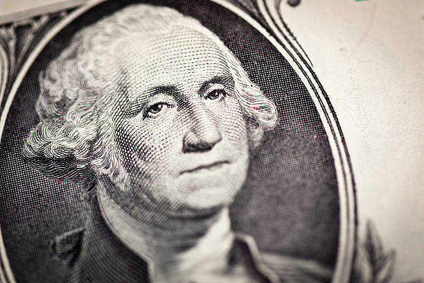 One Dollar George Washington's face stock photo