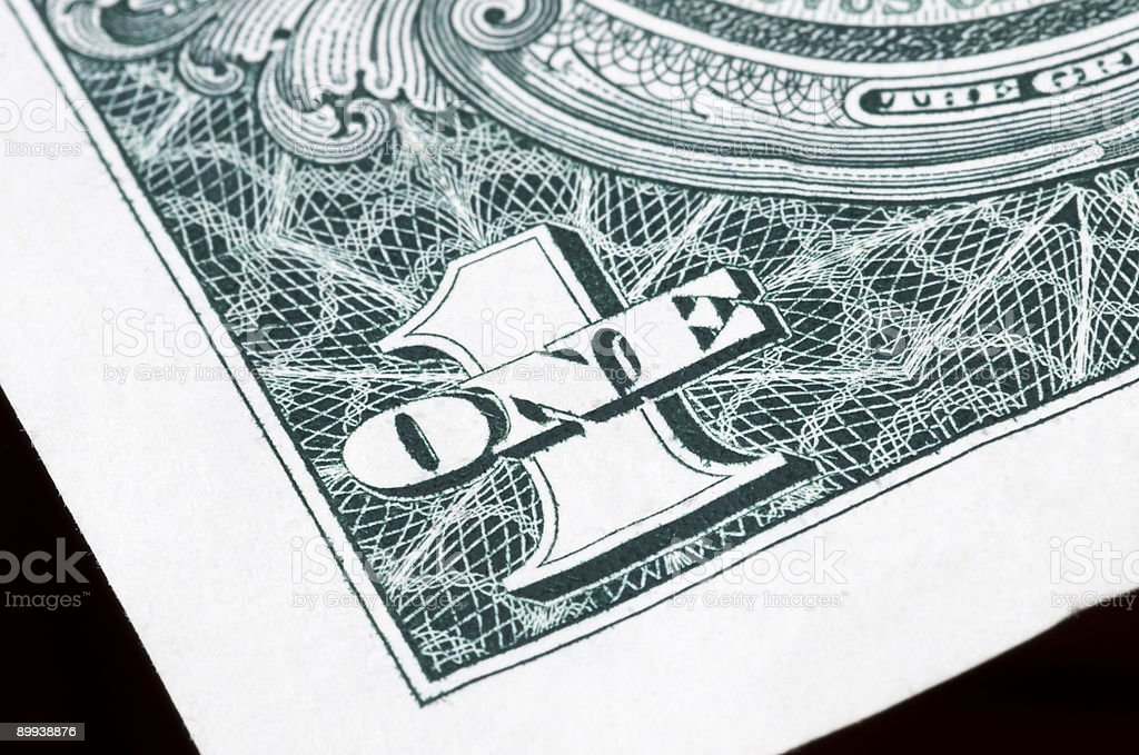 one dollar in close up royalty-free stock photo