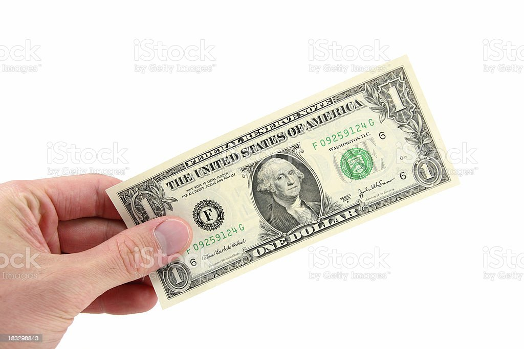 One Dollar in Hand royalty-free stock photo