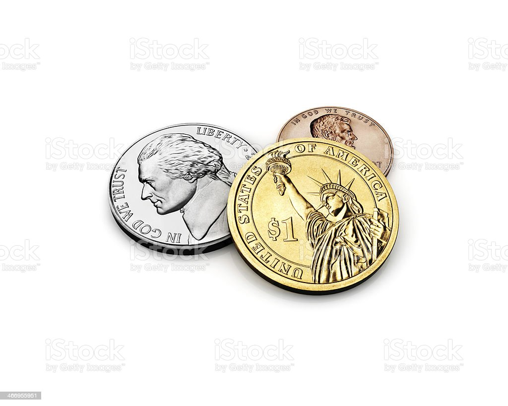 US one dollar with quarter and cent money Coins royalty-free stock photo