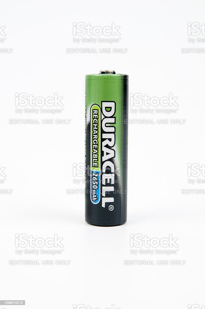 One Duracell AA Rechargeable Battery stock photo
